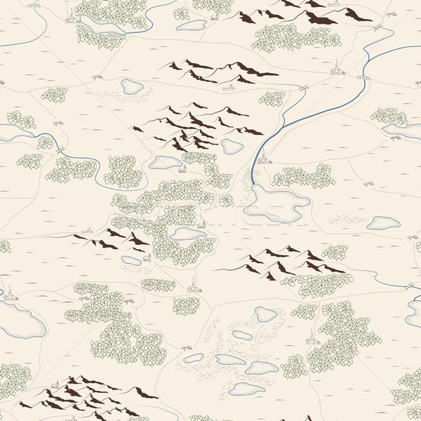 シームレス 芸術的 描いた 地図 河川 山 ストックフォト © Vertyr