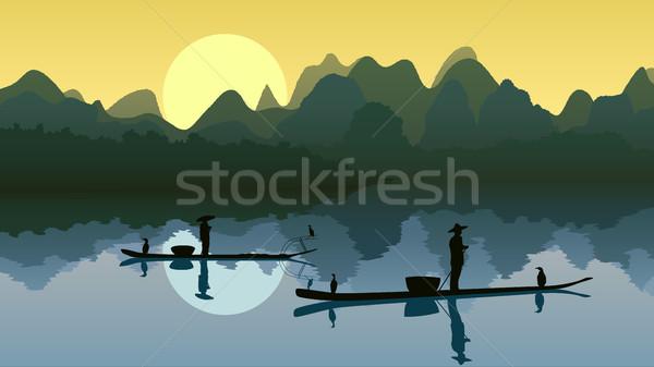 Visser meer zon visser boot asian Stockfoto © Vertyr