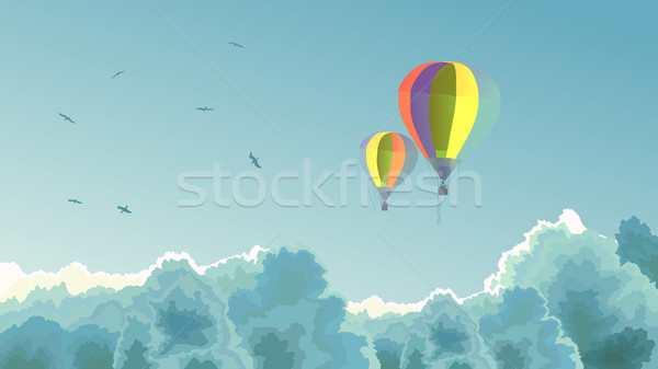 Two air balloons in the sky with clouds. Stock photo © Vertyr