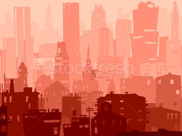 抽象的な 実例 ビッグ 市 ベクトル 屋根 ストックフォト © Vertyr