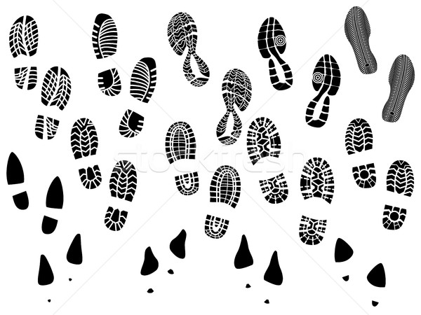 Set of vector silhouettes boots print. Stock photo © Vertyr