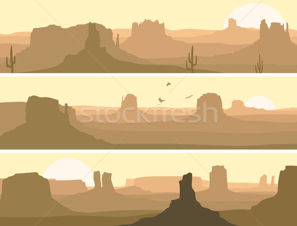 Abstract horizontaal banner prairie wild west Stockfoto © Vertyr