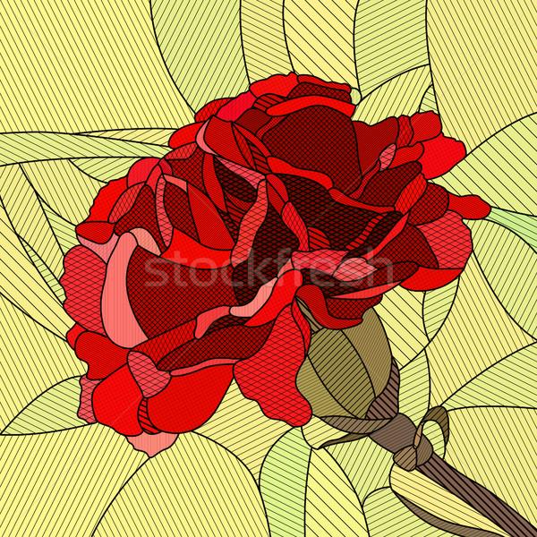 Blume rot Nelke Vektor Mosaik groß Stock foto © Vertyr