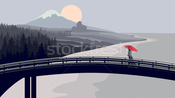 Bridge, woman with red umbrella, mountains and sea. Stock photo © Vertyr