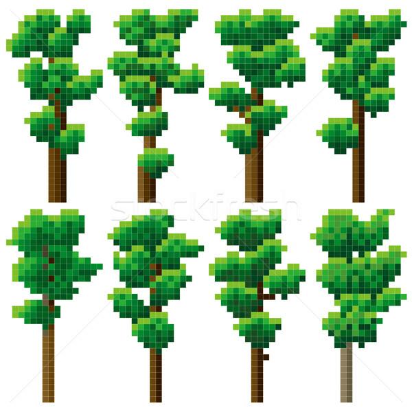 Set pixel alto albero semplice verde Foto d'archivio © Vertyr