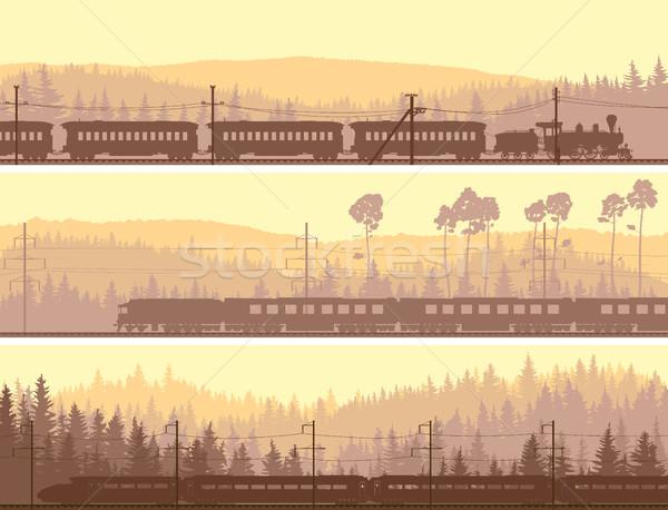горизонтальный Баннеры локомотив поезд холмы Сток-фото © Vertyr