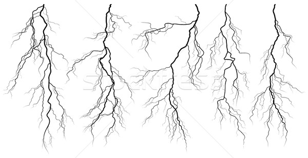 Set of silhouettes of thunderstorm lightning. Stock photo © Vertyr