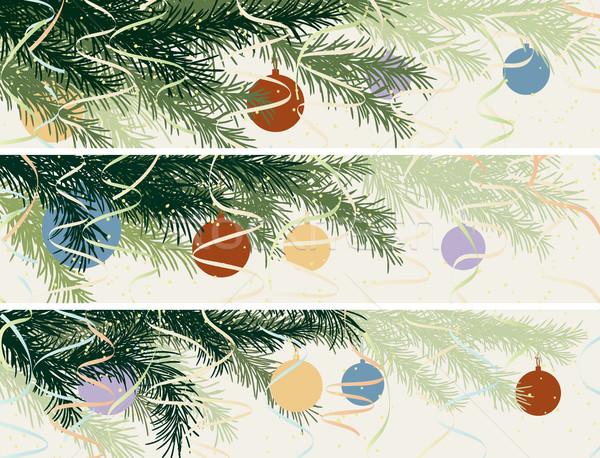 Horizontal Banner Weihnachten Fichte Zweig Set Stock foto © Vertyr