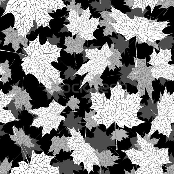 秋 メイプル 葉 シームレス 黒白 ベクトル ストックフォト © Vertyr
