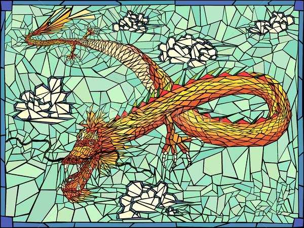 Oro dragón vector vidrieras ventana nubes Foto stock © Vertyr