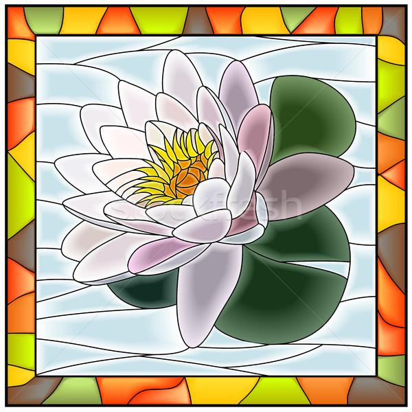 Flor Lily vidrieras marco de ventana agua Foto stock © Vertyr