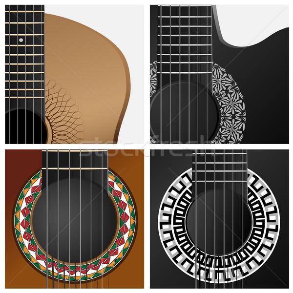 ベクトル アイコン ギター セット 広場 アイコン ストックフォト © Vertyr