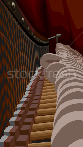Piano interiors with strings and hammers. Stock photo © Vertyr