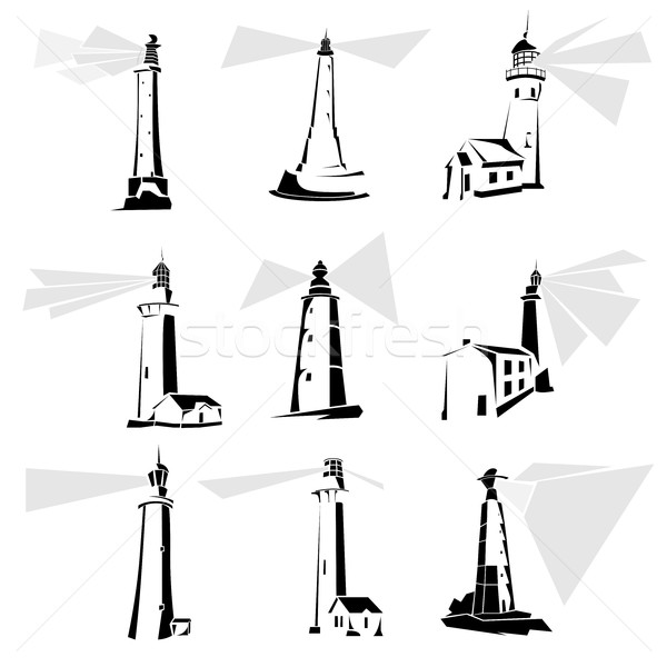 Set of black and white lighthouse icons. Stock photo © Vertyr