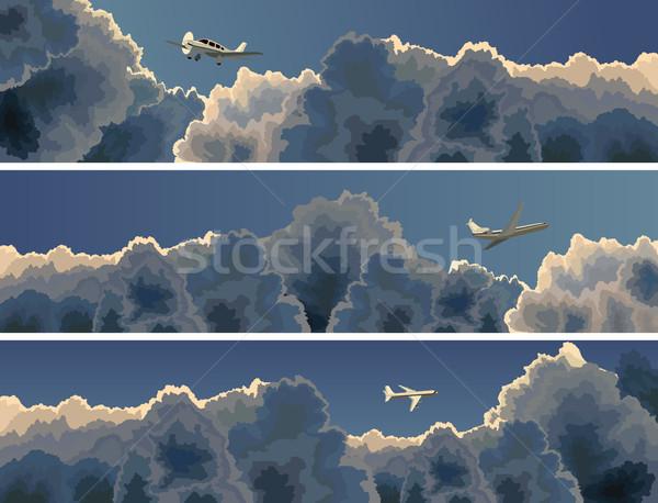 Horizontal banner of plane among clouds. Stock photo © Vertyr