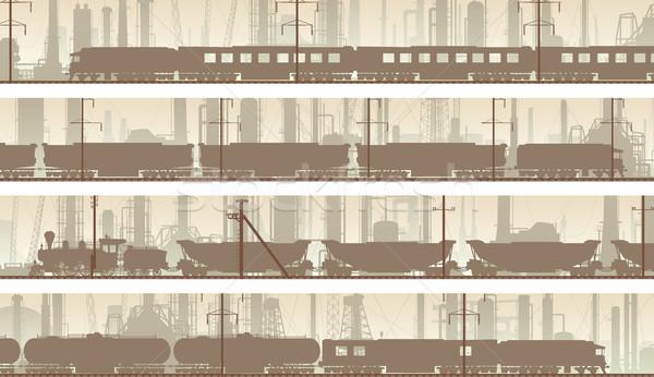 Vetor banners industrial cidade trem conjunto Foto stock © Vertyr