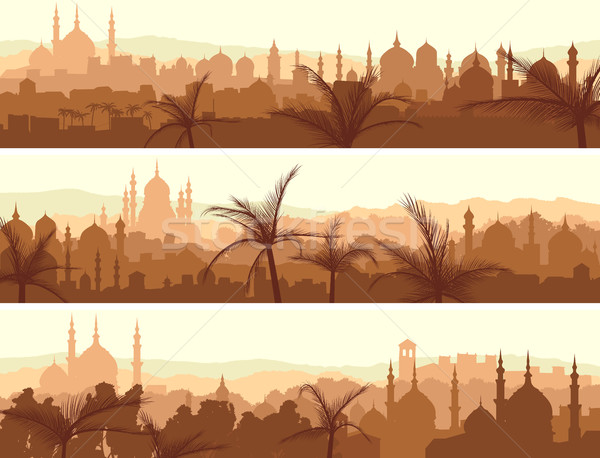 Stock fotó: Vízszintes · bannerek · nagy · arab · város · naplemente