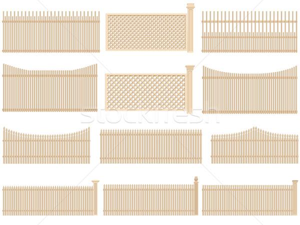 Ahşap çit hacim gölgeler ayarlamak vektör Stok fotoğraf © Vertyr