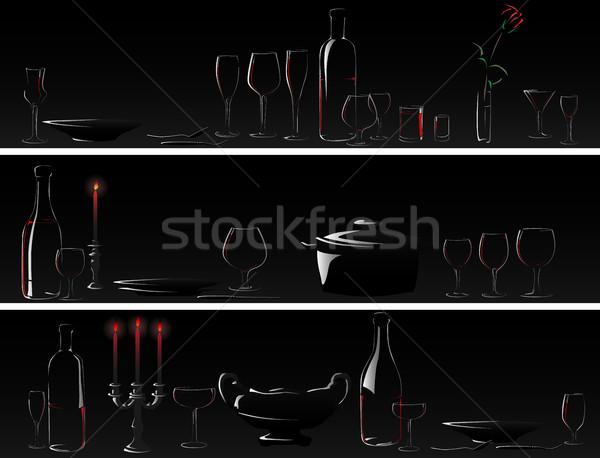 Vector banner cena luz de una vela horizontal siluetas Foto stock © Vertyr