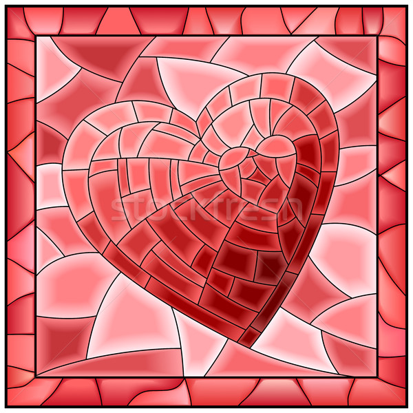Heart stained glass window with frame. Stock photo © Vertyr