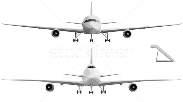Vector illustration set of big airplane in front. Stock photo © Vertyr