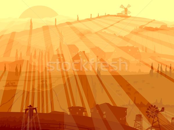 Abstrato ilustração aldeia pôr do sol vetor Foto stock © Vertyr
