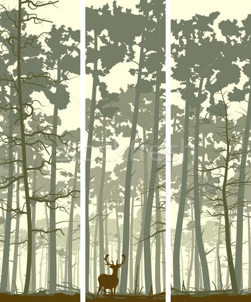 垂直 バナー 鹿 木材 抽象的な ストックフォト © Vertyr