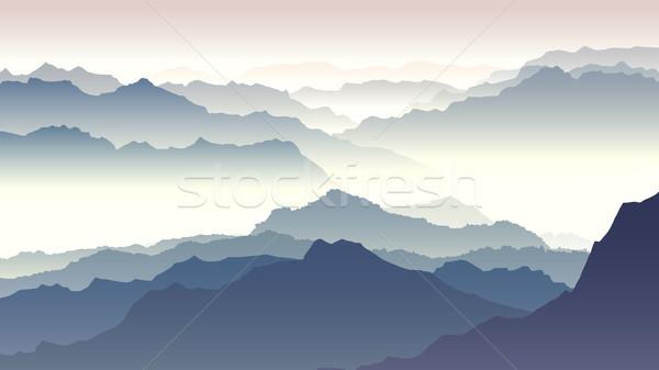 горизонтальный иллюстрация сумерки гор утра туманный Сток-фото © Vertyr