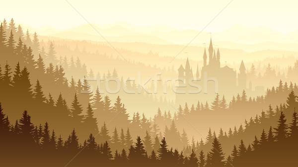霧の 木材 城 森林 ストックフォト © Vertyr