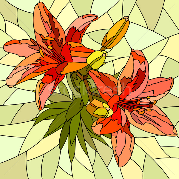 Vector illustration of flower red lilies. Stock photo © Vertyr