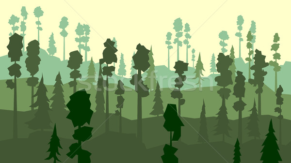 Cartoon of coniferous forest in green tone. Stock photo © Vertyr