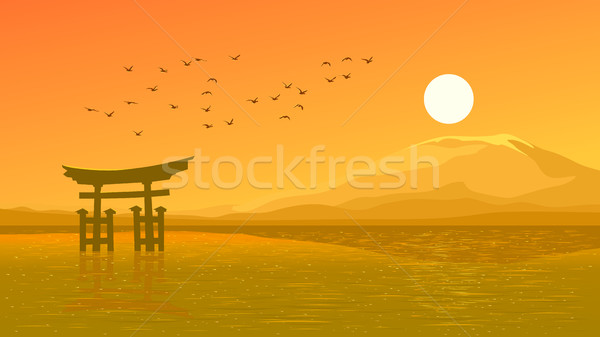 飛行 鳥 オレンジ 日没 海岸 日本語 ストックフォト © Vertyr