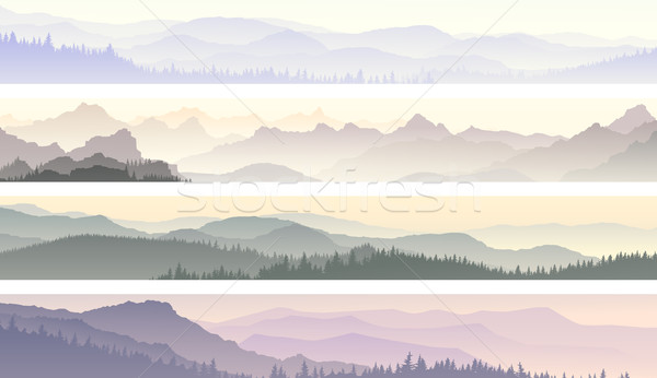 Vector banners of misty forest hills. Stock photo © Vertyr