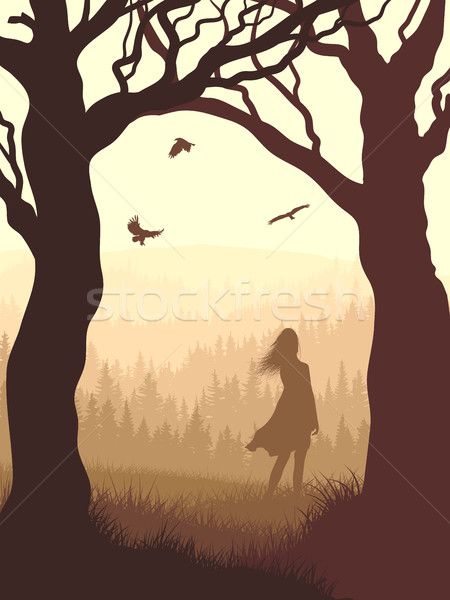 Vertical illustration within forest with silhouette girl in the  Stock photo © Vertyr