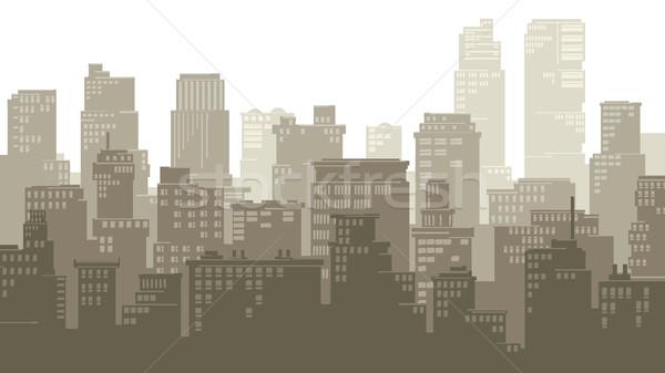горизонтальный иллюстрация Cartoon большой город стилизованный Сток-фото © Vertyr
