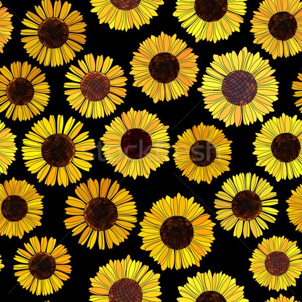Sin costura girasoles vector resumen negro naturaleza Foto stock © Vertyr