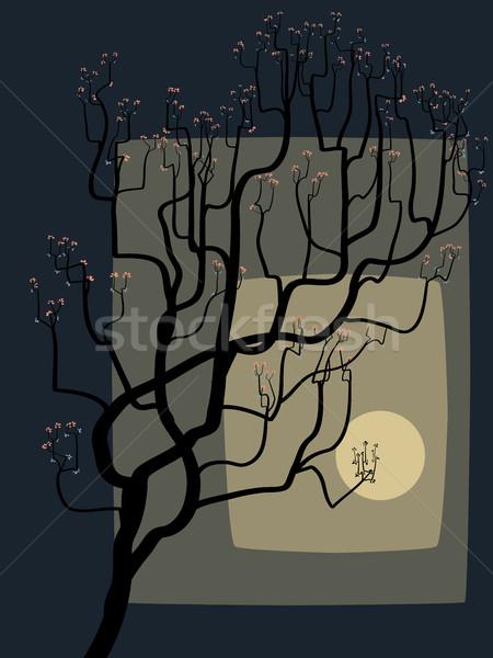 抽象的な 図面 開花 ツリー 月 春 ストックフォト © Vertyr