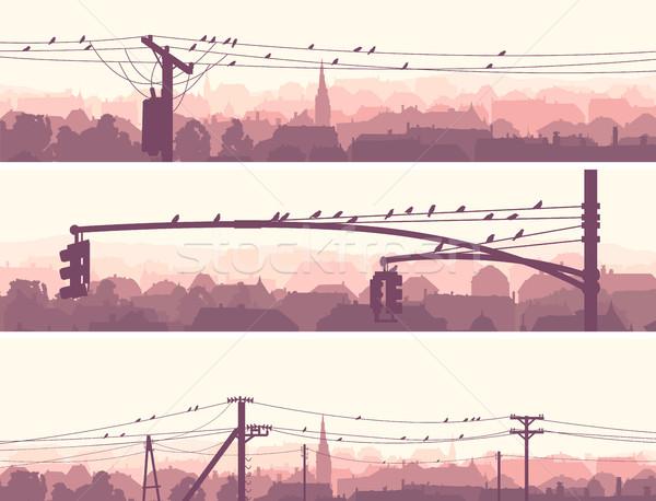 水平な バナー 群れ 鳥 市 ストックフォト © Vertyr