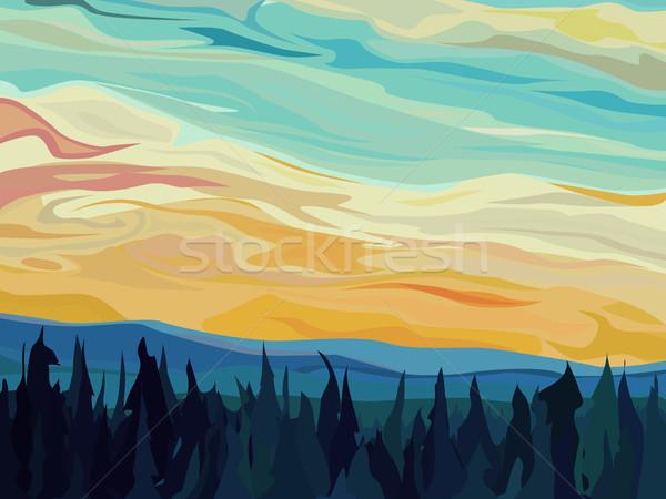 Absztrakt vektor dombok tűlevelű erdő naplemente Stock fotó © Vertyr