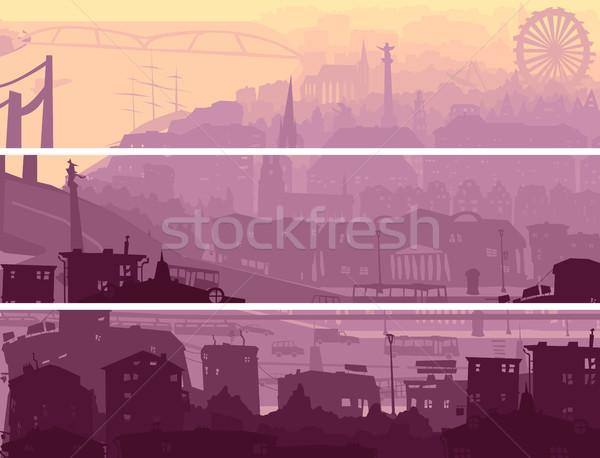 Abstrato horizontal bandeira grande cidade pôr do sol Foto stock © Vertyr