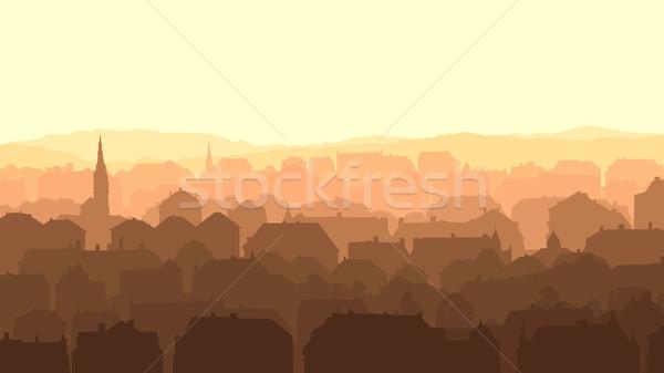 Horizontal ilustração grande europeu cidade pôr do sol Foto stock © Vertyr
