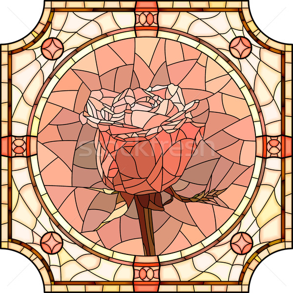 Vector mosaic of flower pink rose. Stock photo © Vertyr
