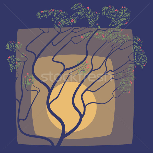 The abstract drawing of a blossoming tree against the Moon. Stock photo © Vertyr