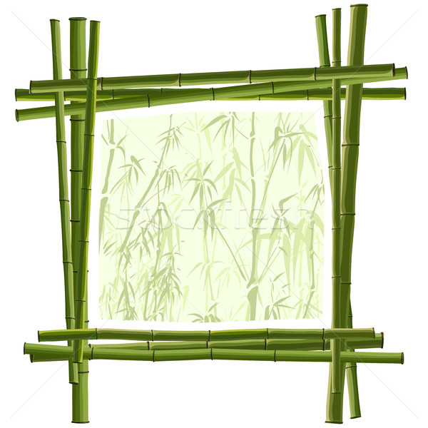 Vector square frame from green bamboo. Stock photo © Vertyr