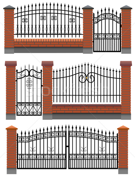 Gate and fences with brick columns and metal lattice. Stock photo © Vertyr