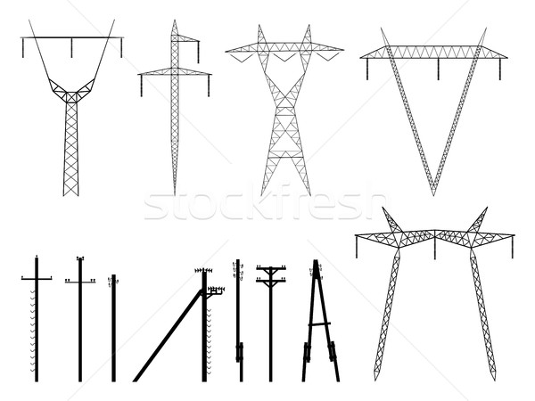 Set of vector silhouettes of pylons transmission line. Stock photo © Vertyr