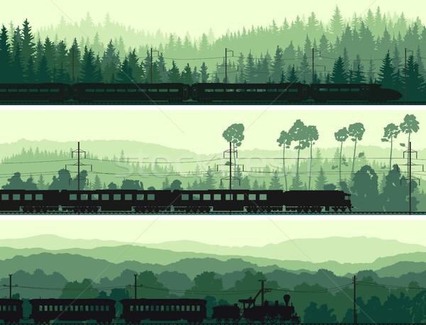 Horizontaal banners locomotief trein heuvels Stockfoto © Vertyr