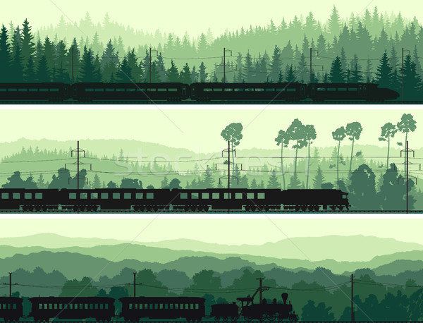 Horizontal banners locomotiva trem hills Foto stock © Vertyr