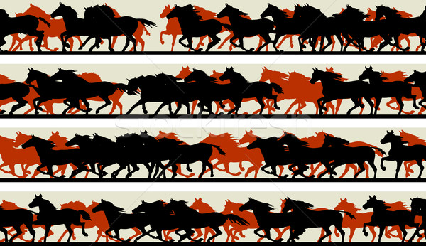 Horizontal banners of silhouette of prancing galloping horses. Stock photo © Vertyr