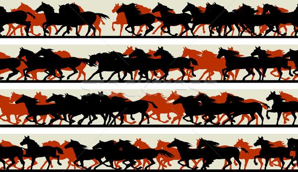 水平な バナー シルエット 馬 セット ベクトル ストックフォト © Vertyr